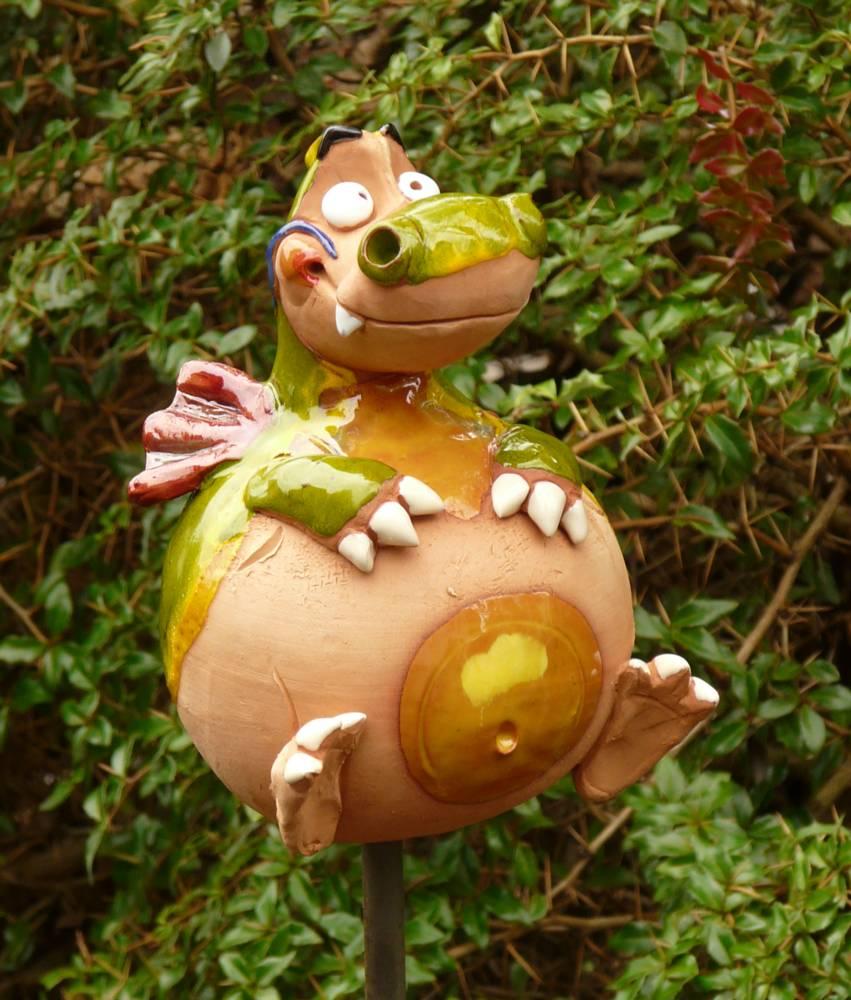 Gartenstecker gartenkugel beetstecker drache keramik gartendeko handarbeit ebay - Keramik katzen fur garten ...