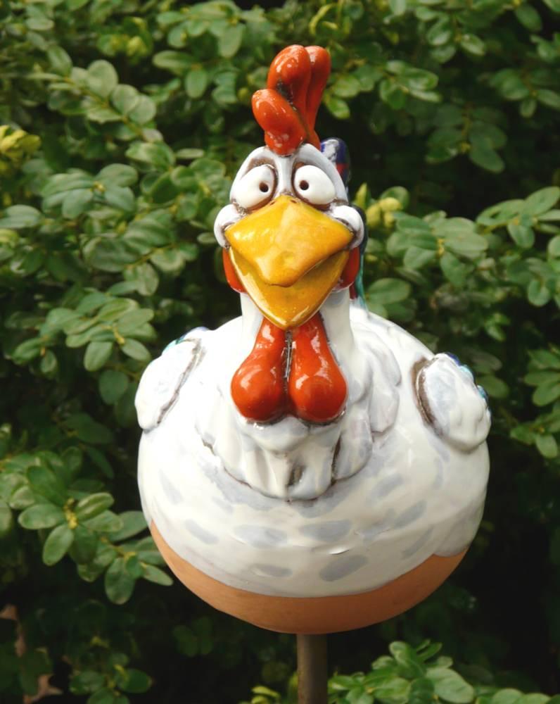 Gartenstecker gartenkugel beetstecker hahn keramik for Gartenfiguren aus keramik