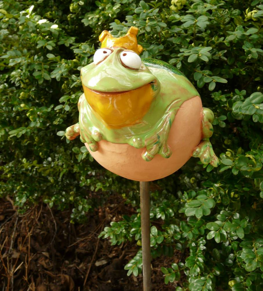 Gartenstecker gartenkugel beetstecker frosch keramik for Frosch figuren fur garten