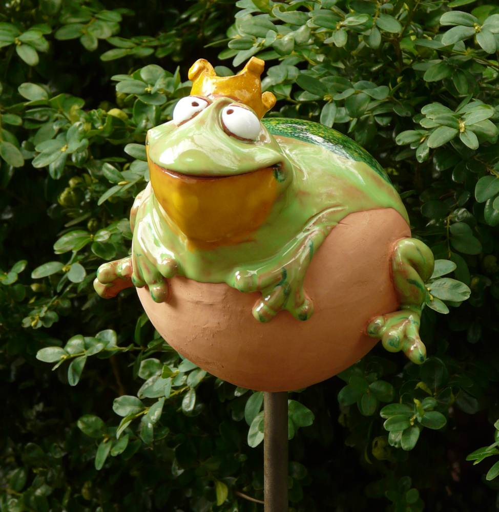 Gartenstecker gartenkugel beetstecker frosch keramik gartendeko handarbeit ebay - Keramik katzen fur garten ...