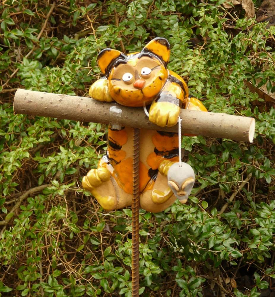 gartenstecker beetstecker katze mit maus keramik gartendeko, Garten ideen