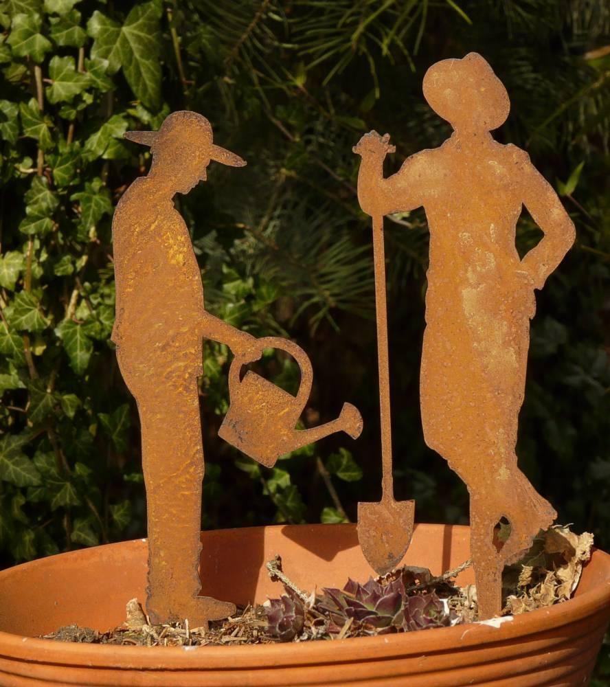 Gartenstecker beetstecker g rtner mit spaten oder for Edelrost figuren