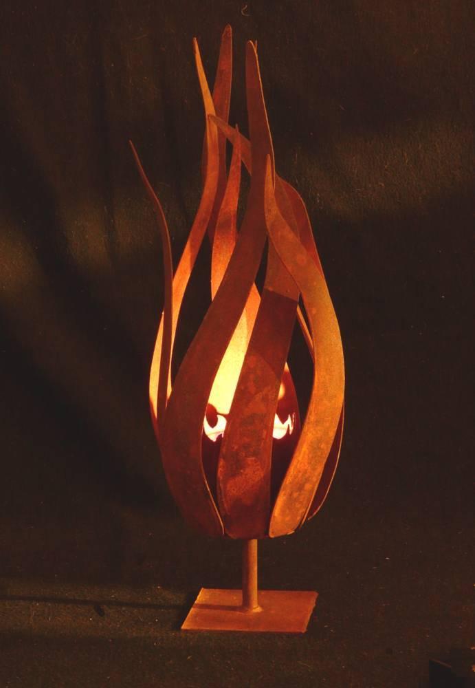 Edelrost blume bl te flammenblume metall rost windlicht for Figuren aus rost fuer garten