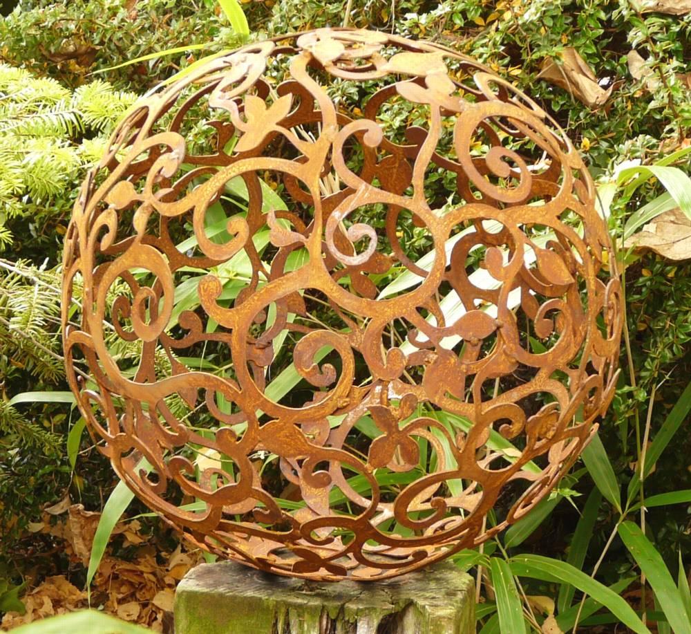 Kugel ornament dekoration metall edelrost rost eisen 50 cm ebay - Metallkugel garten ...