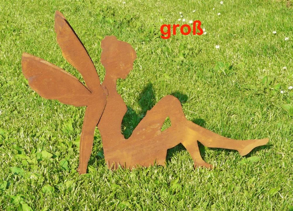 Elfe rostig edelrost rost gartenfigur metall l70cm ebay for Figuren aus rost