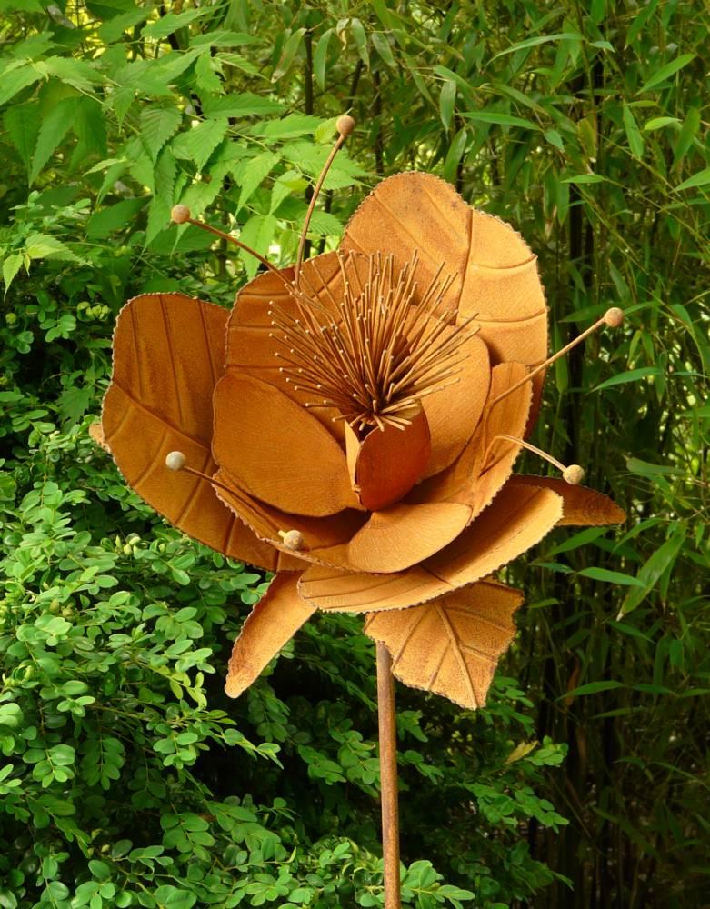 Gartenstecker rose edelrose metall eisen rost edelrost for Edelrost figuren