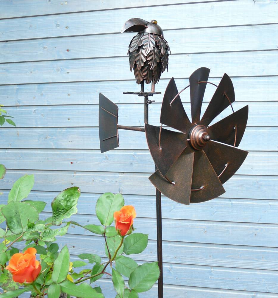 windrad rabe vogel kupfer gartenstecker metall windspiel h he 148 cm d cm ebay. Black Bedroom Furniture Sets. Home Design Ideas