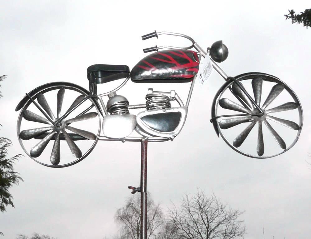 windrad gartenstecker windspiel motorrad metall 2 wahl ebay. Black Bedroom Furniture Sets. Home Design Ideas