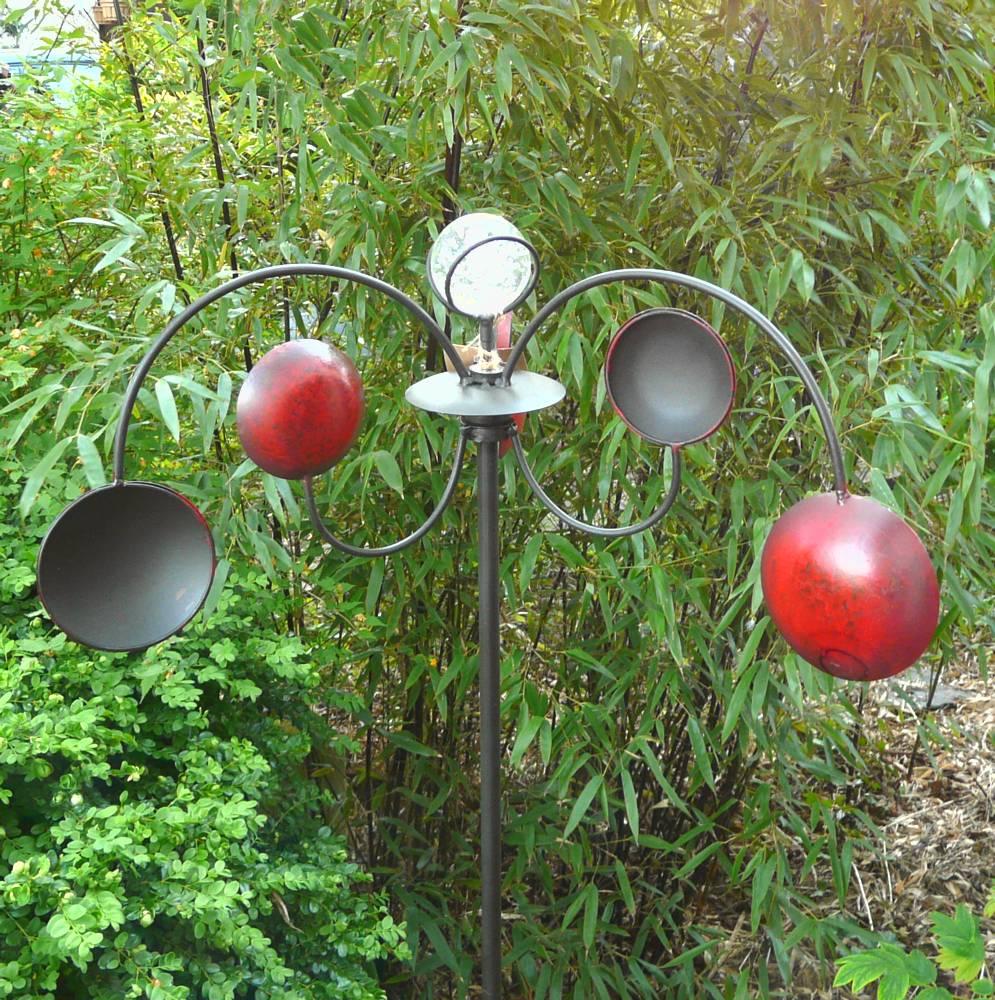 windrad gartenstecker windspiel taler rot metall glaskugel ebay. Black Bedroom Furniture Sets. Home Design Ideas