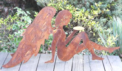 Engel putte rost metall edelrost gartendeko ebay for Gartendeko engel rost