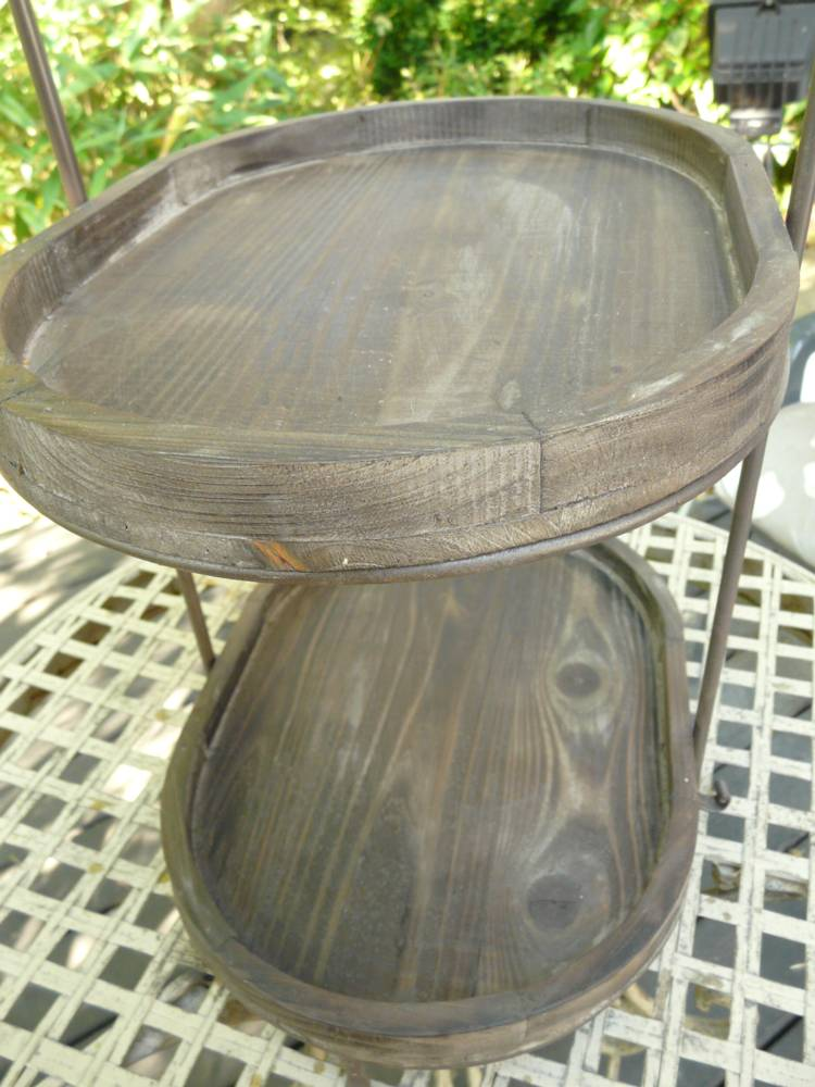 etagere holz metall vintage look braun oval ebay. Black Bedroom Furniture Sets. Home Design Ideas