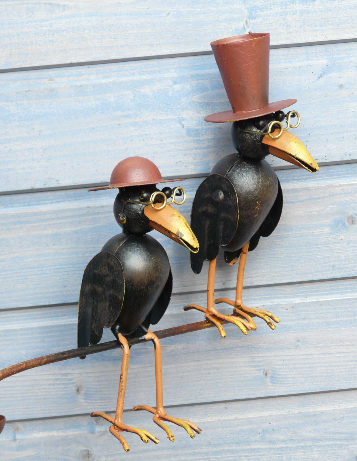 gartenstecker windspiel rabe vogel mit hut metall bunt ebay. Black Bedroom Furniture Sets. Home Design Ideas