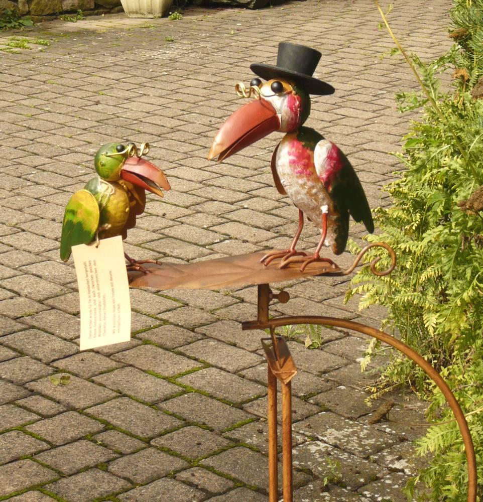 Gartenstecker wippe windspiel rabe raben vogel mit hut for Gartenstecker metall