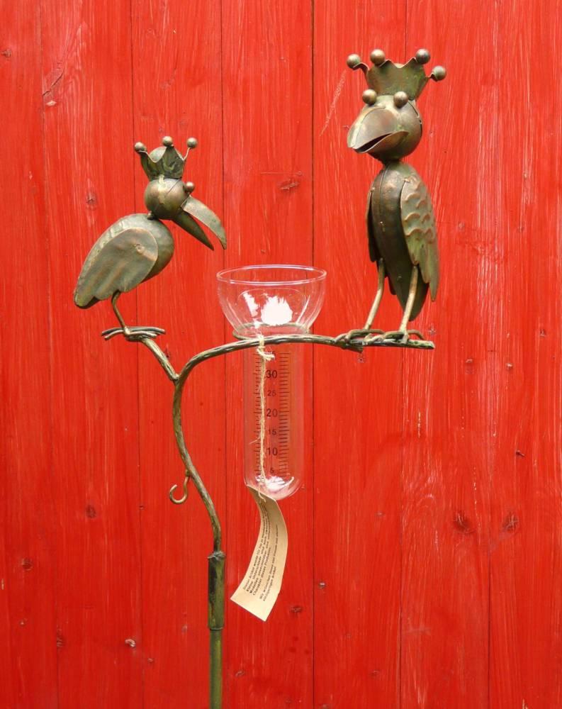 regenmesser rabe mit krone gartenstecker raben vogel metall glas kupferlook ebay. Black Bedroom Furniture Sets. Home Design Ideas