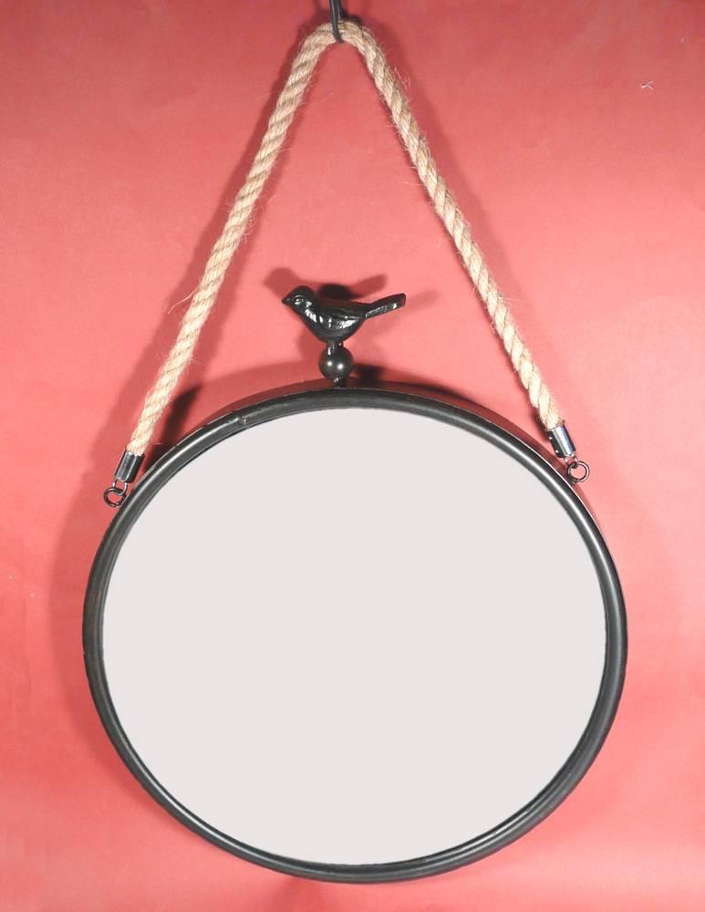 spiegel rund wandspiegel metall mit kordel und vogel nostalgie ebay. Black Bedroom Furniture Sets. Home Design Ideas