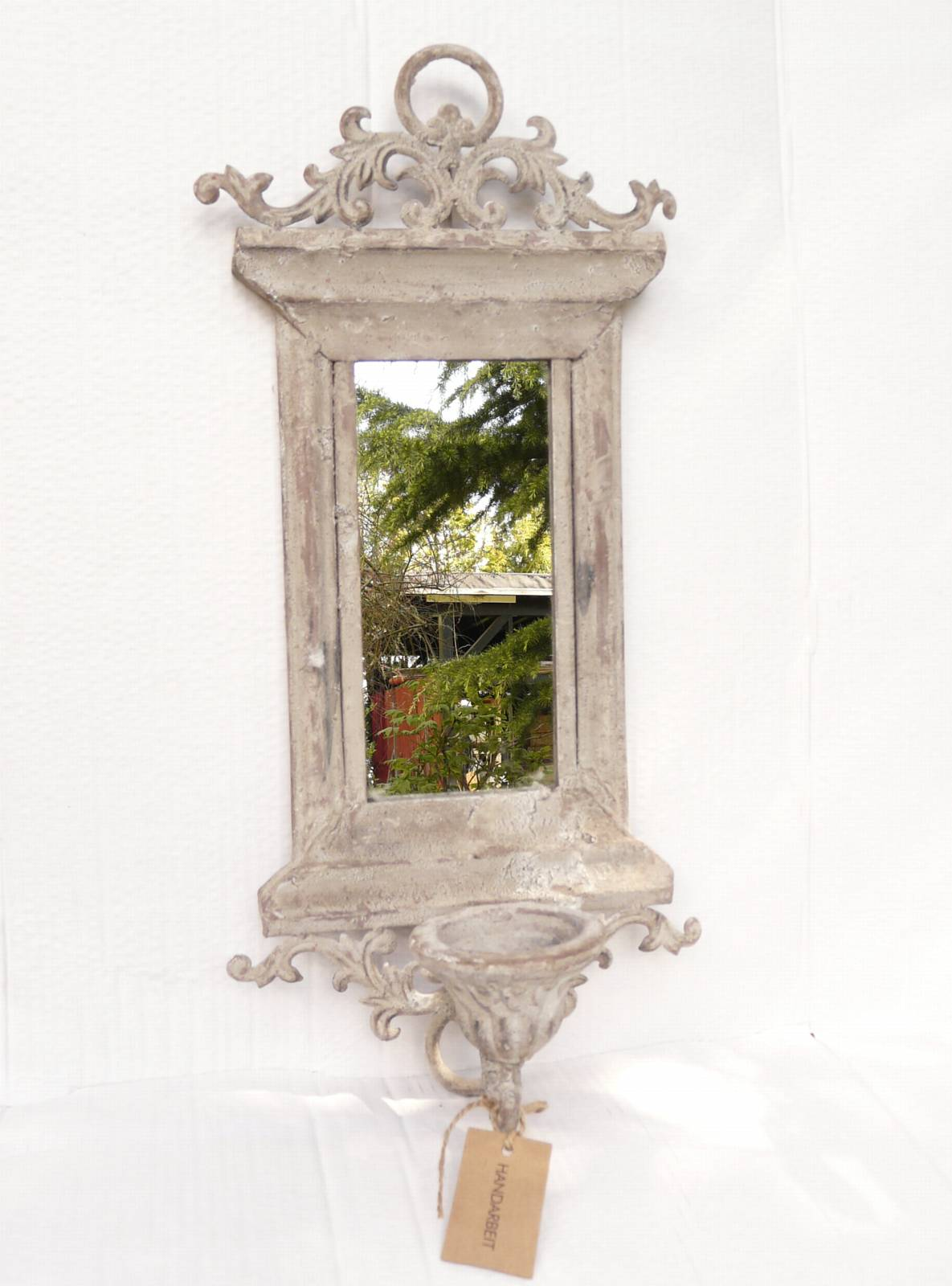 kerzenhalter wandkerzenhalter kerzenleuchter metall mit spiegel shabby chic. Black Bedroom Furniture Sets. Home Design Ideas