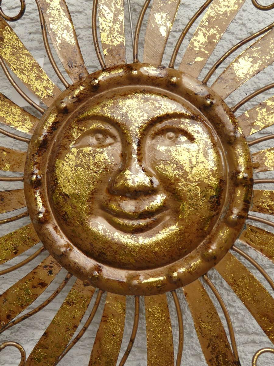 Wanddeko Metall Sonne Sonne Metall Braun Gold Wandbild Gartendeko.