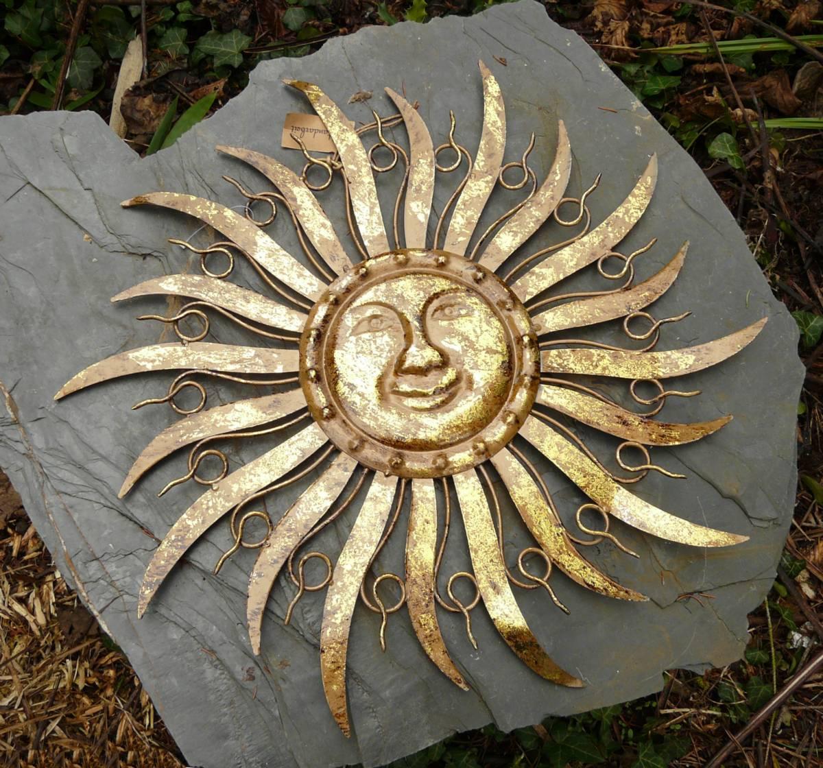 Sonne metall braun gold wanddekoration wandbild gartendeko for Gartendeko metall