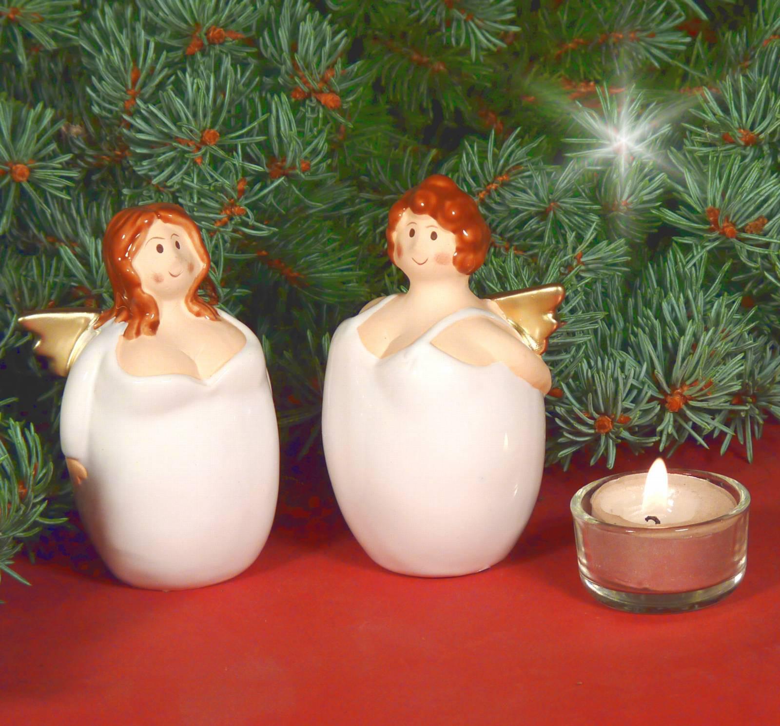engel dicke frau keramik wei gold tischdeko weihnachtsdeko 10cm ebay. Black Bedroom Furniture Sets. Home Design Ideas