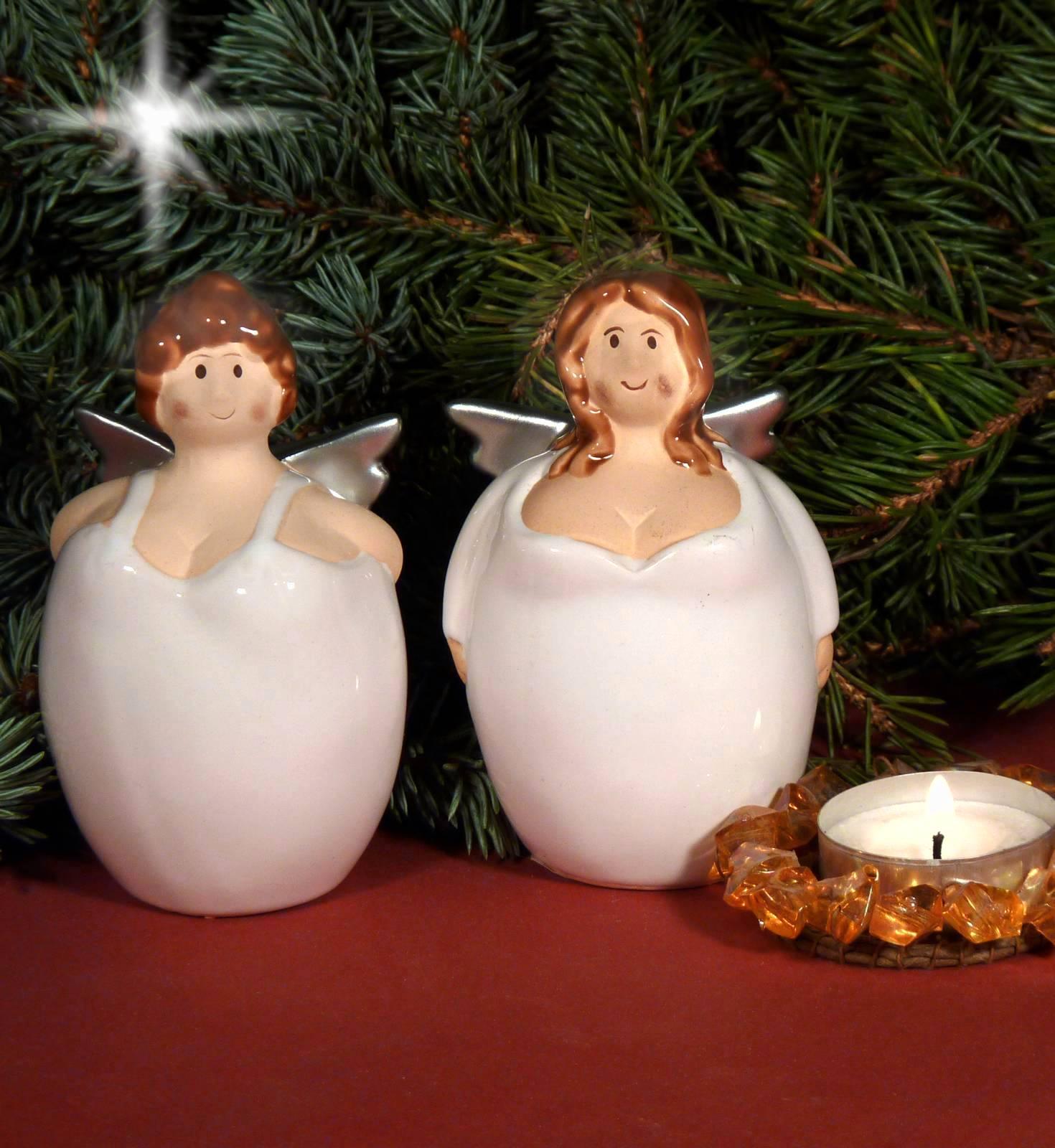 engel dicke frau keramik wei silber tischdeko weihnachtsdeko 10cm ebay. Black Bedroom Furniture Sets. Home Design Ideas
