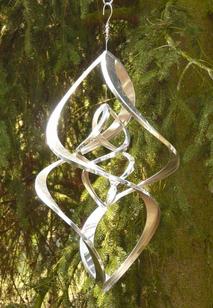 windspiel edelstahl doppelt spirale 46 cm ebay