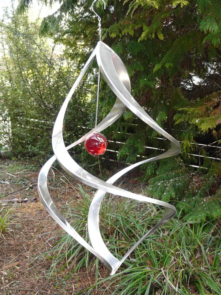 windspiel edelstahl glaskugel 54 cm hoch ebay